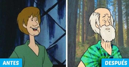 Cover 6 imágenes que muestran el paso del tiempo en los personajes de Scooby doo