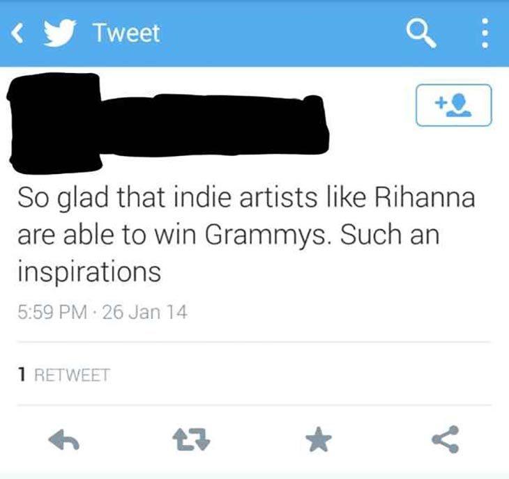 tweet con la emoción de que Rihanna ganará un Grammy