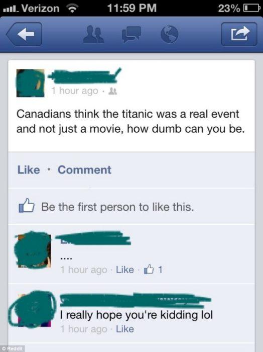 comentario gracioso de como una persona creyó que el titanic es solo ficción