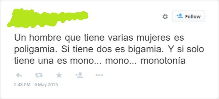 tweet sarcástico de expresando lo monótono que puede ser el matrimonio