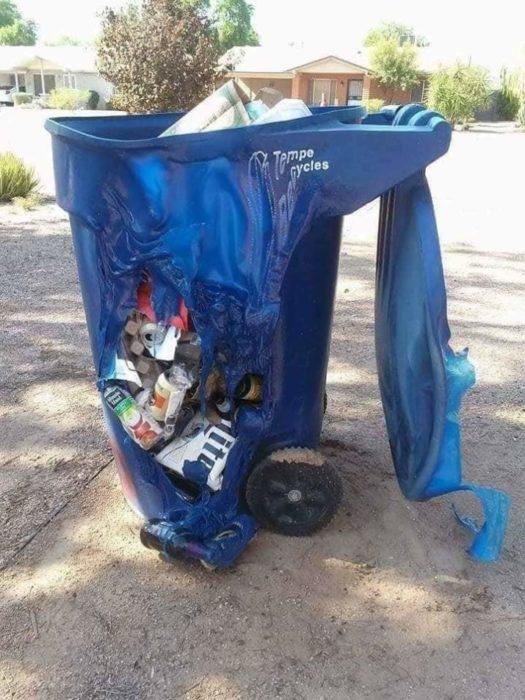 basura bote derretido