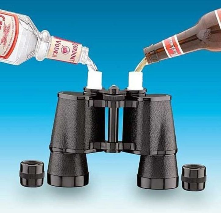 binoculares usados para guardar bebidas