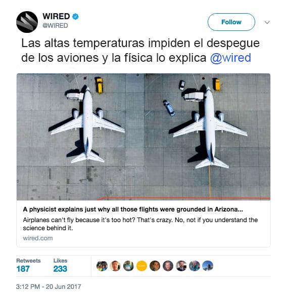 física aviones arizona no pueden despegar calor