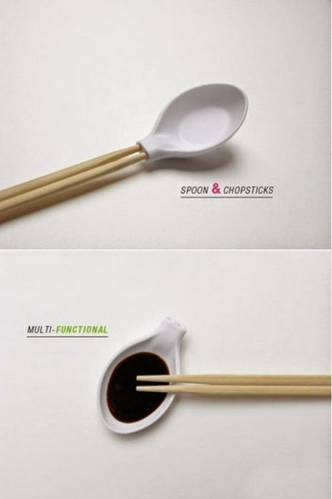 Cuchara que puede ser usado como palillos chinos y salsero