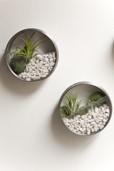 viejos trastos puestos en la pared para ser pequeños jardineros