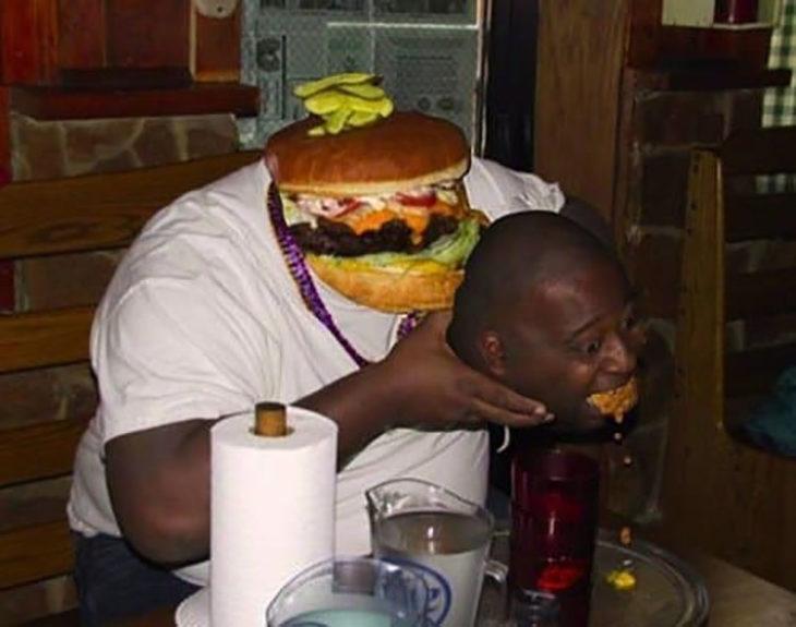 hambre hace una edición para hacer como hamburguesa se lo come a él