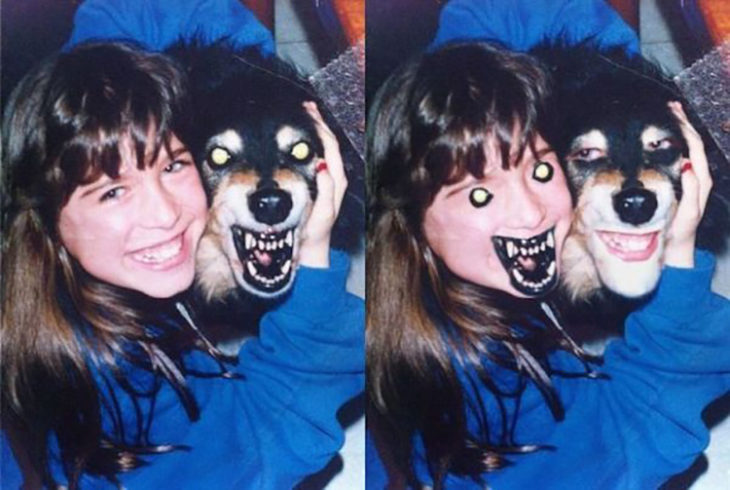 perro enojado se hace cambio de cara con niña sonriente