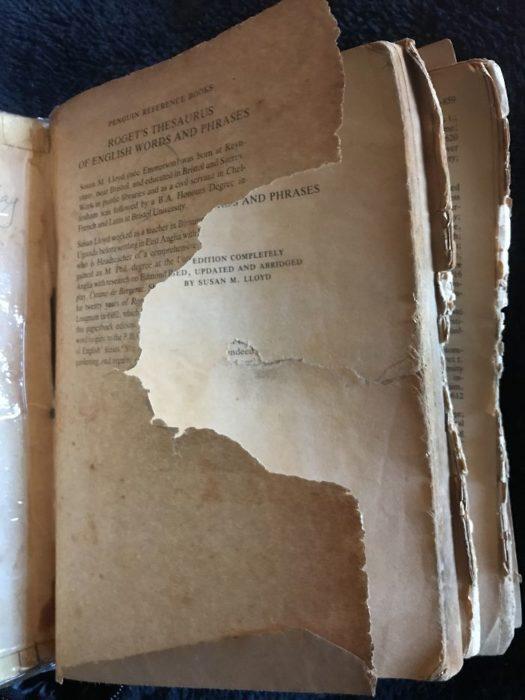 libro desgastado paso del tiempo hojas rotas