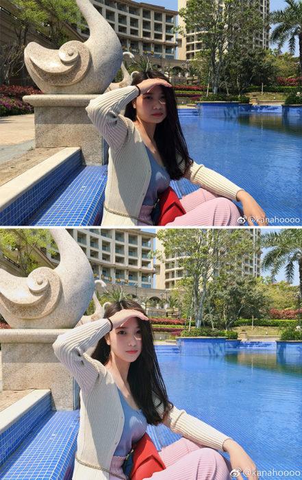 mujer sentada instagram truco photoshop