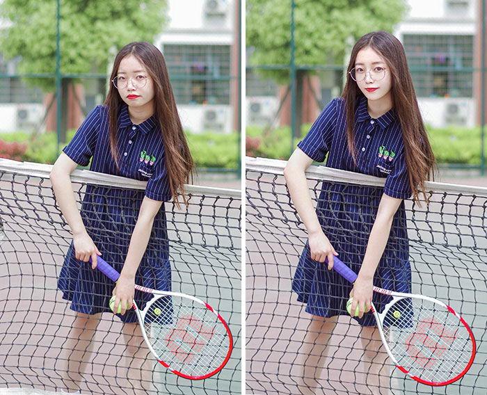 mujer raqueta instagram truco photoshop