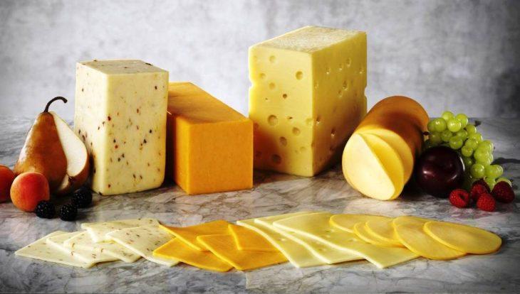 variedad de quesos procesados