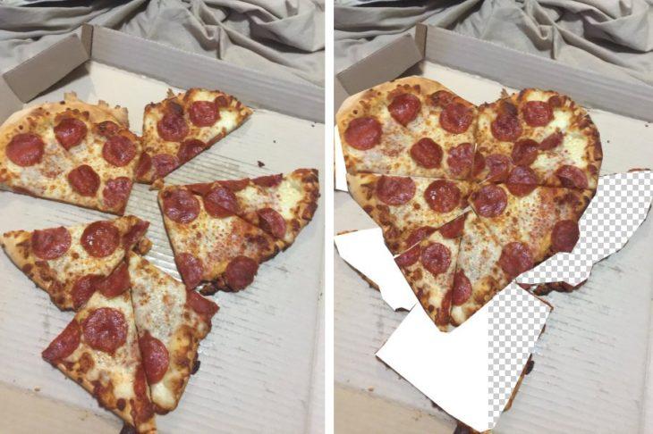 Pizza en pedazos que al unirlos forman un corazón