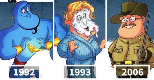 Cover Ilustraciones que nos muestran la evolución de algunos personajes de Hollywood