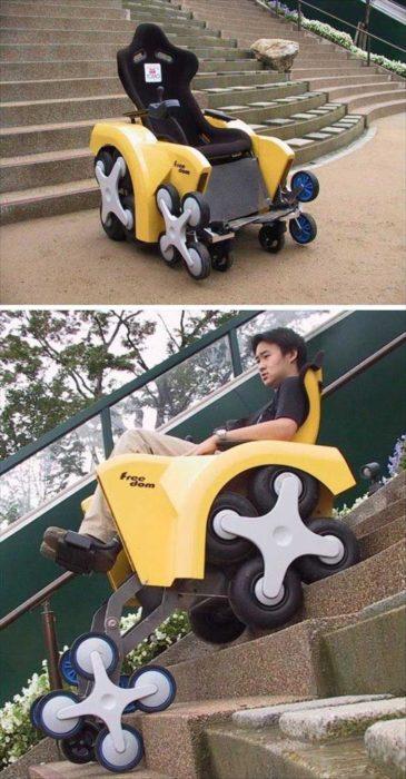 Silla de ruedas que permite bajar las escaleras