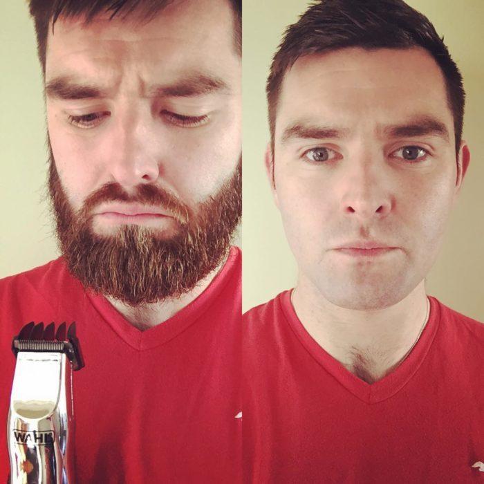 Joven con máquina de afeitar se rasura
