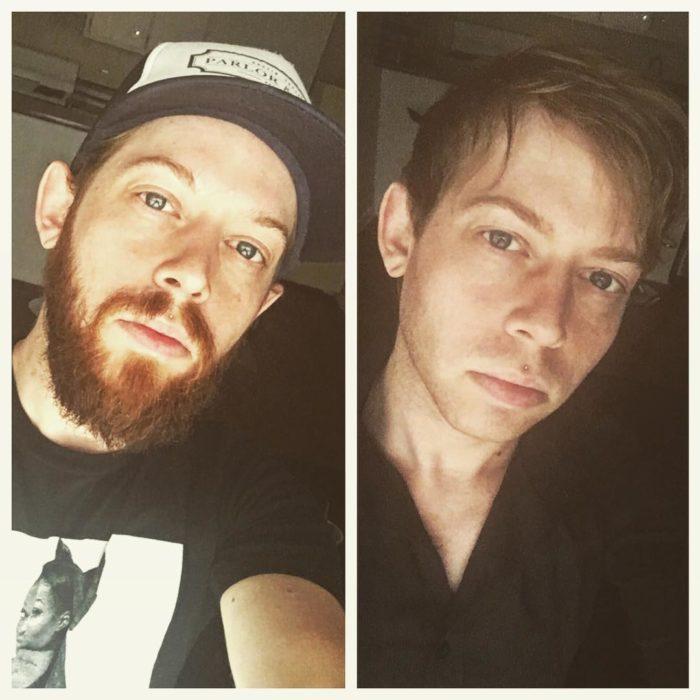 pelirrojo se afeita su barba