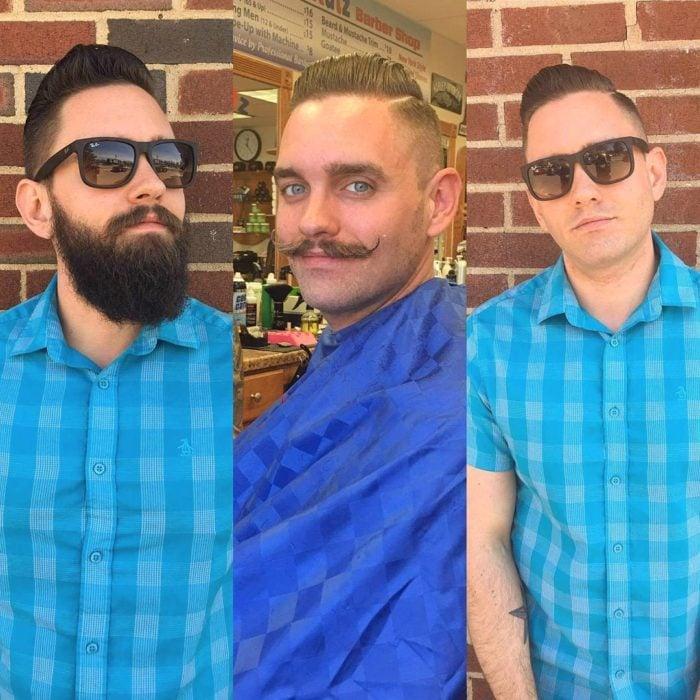Sujeto muestra su antes y su después con o sin barba