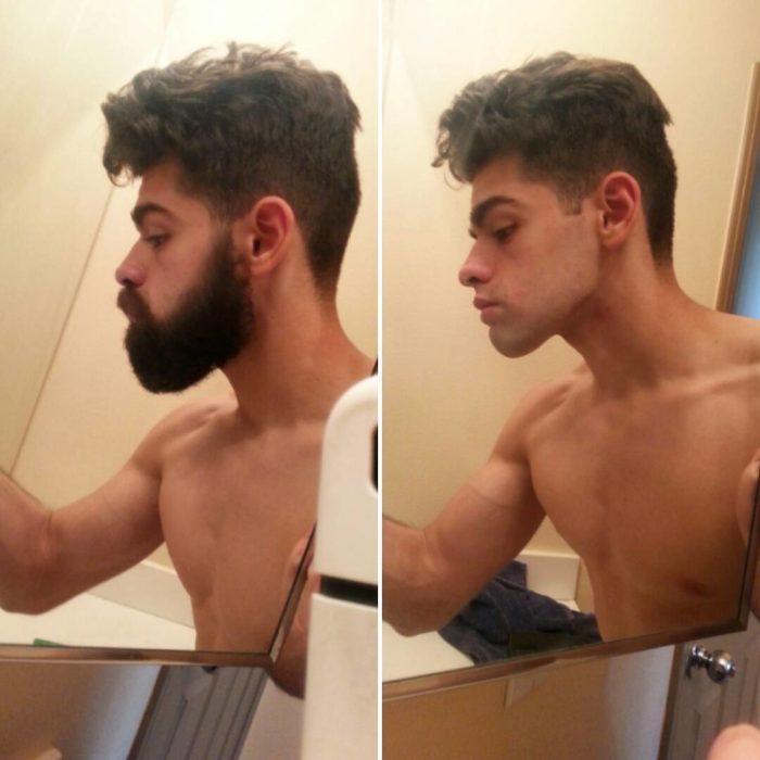 Sujeto en el baño presume su ante su después del afeitado
