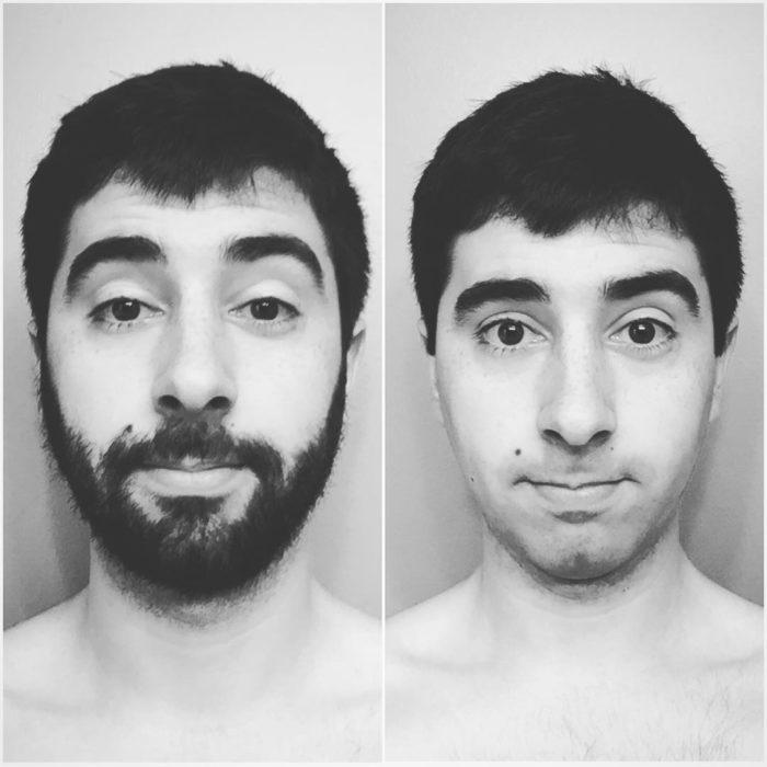 fotografía comparativa del antes y después del afeitado