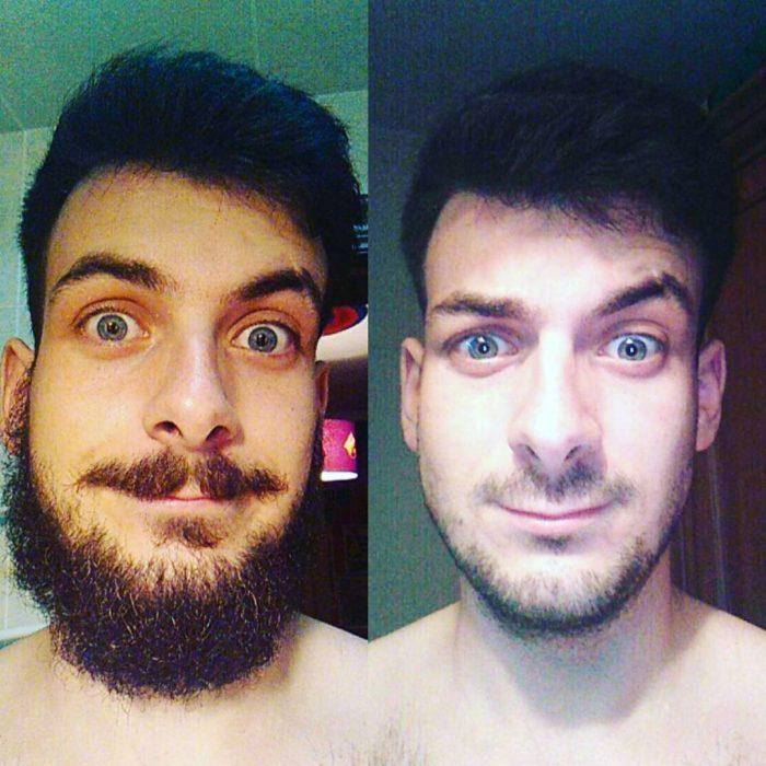 después del afeitado así quedo este joven
