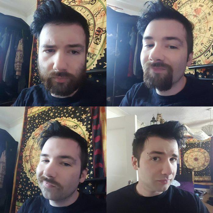 proceso en el que un hombre se va afeitando su barba