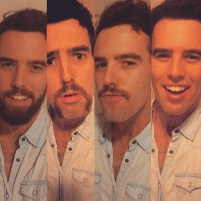 antes y después de afeitarse de este joven de camisa azul