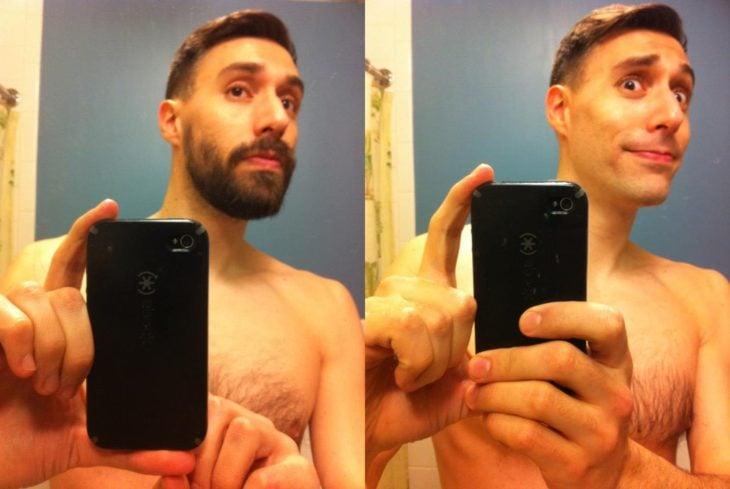 sujeto en su baño tomando una fotografia antes y después de afeitarse