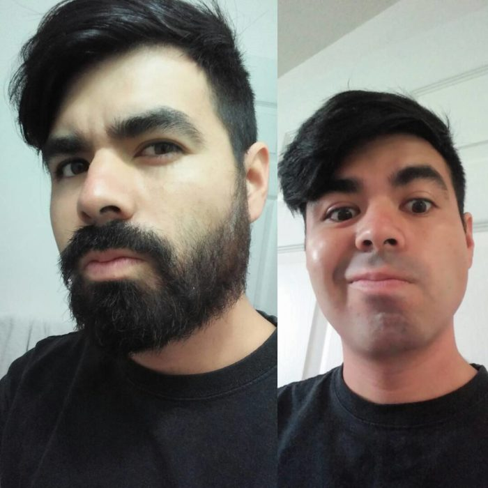 hombre luciendo su cara afeitada