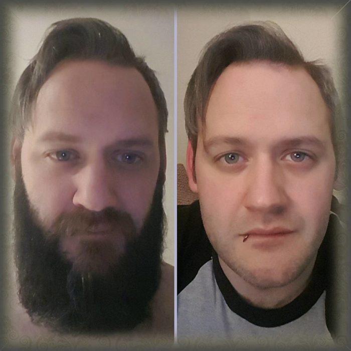 comparativa con o sin barba