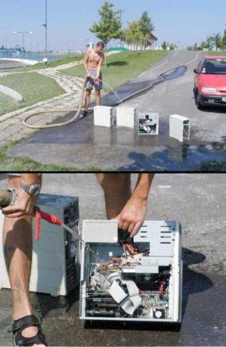 sujeto lavando su computadora