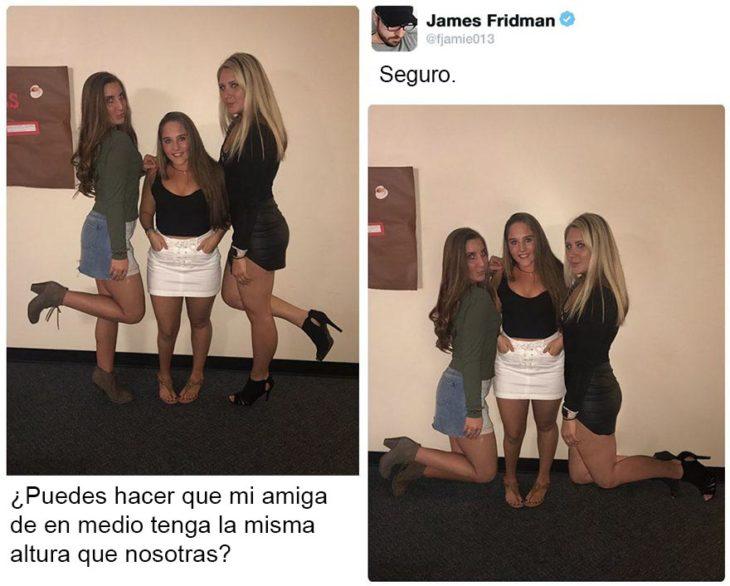 Fotografía editada para que todas las chicas estén a la misma altura