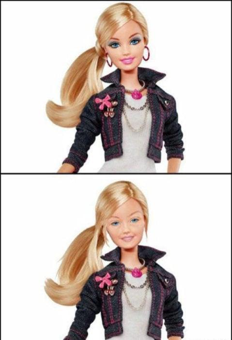 Antes y después del maquillaje Barbie