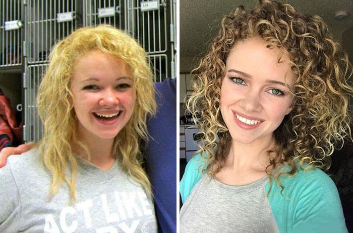 Chica con cabello descuidado y después cambio