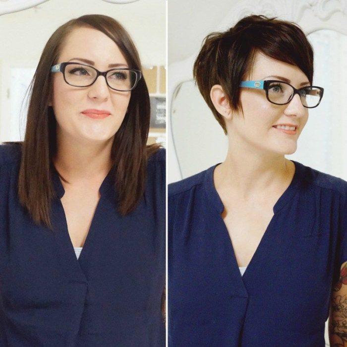 Mujer blusa azul cabello largo y después corto