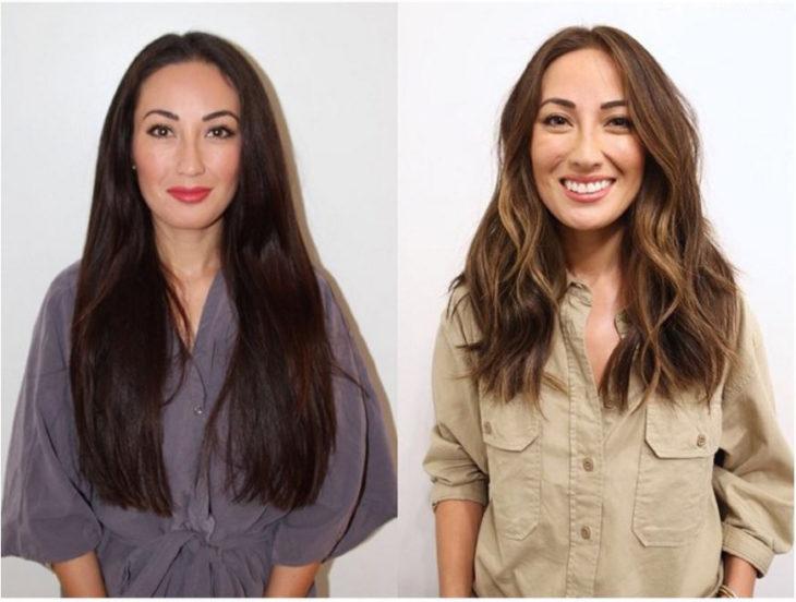 Mujer cabello oscuro largo se cambia el look