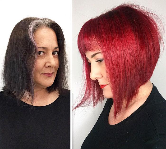 Mujer con cabello oscuro se lo tiño rojo