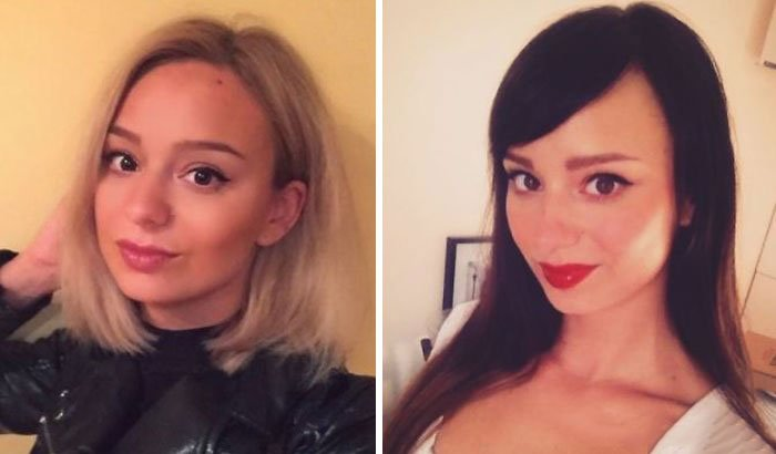 Mujer rubia y cambia a cabello oscuro