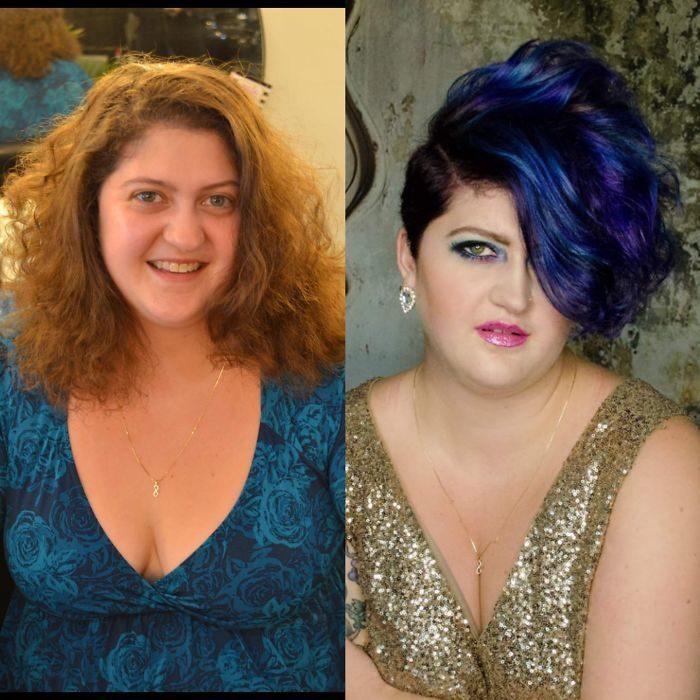 mujer cabello azul