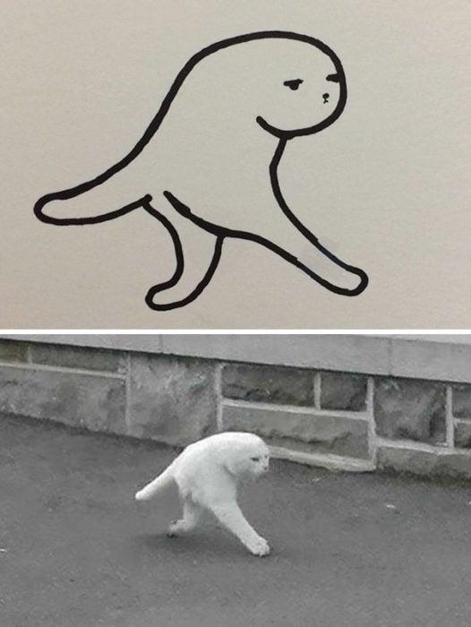 Dibujos realistas gato - panorámica fail