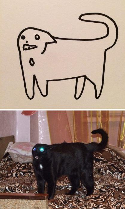 Dibujos realistas gato - gato negro