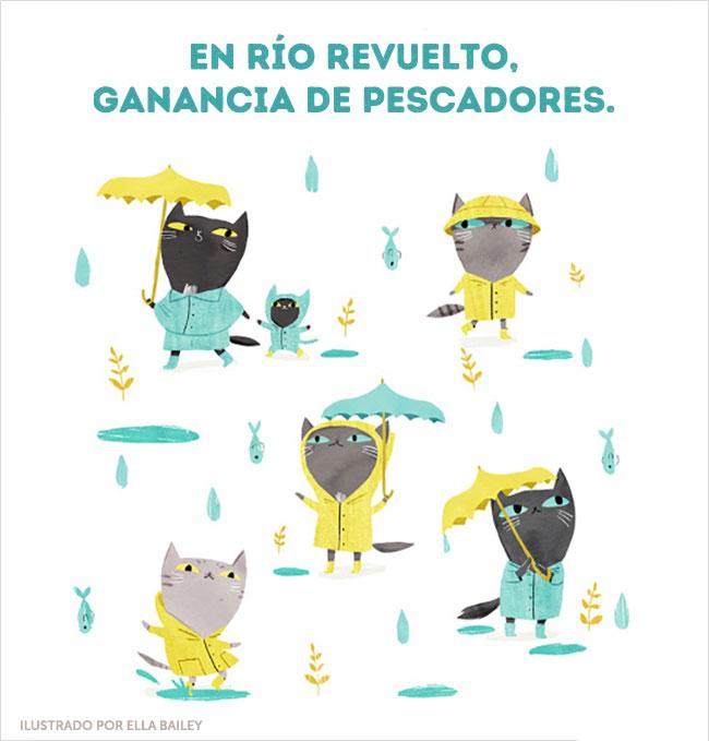 río gatos ilustración dichos