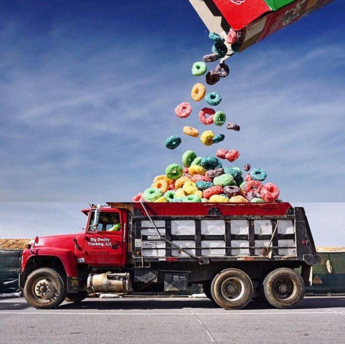 Fotomontajes - froot loops en camión de carga