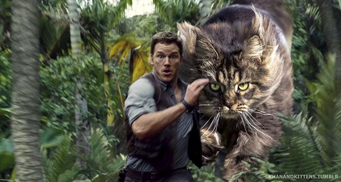 Jurassic World huyendo de un gato