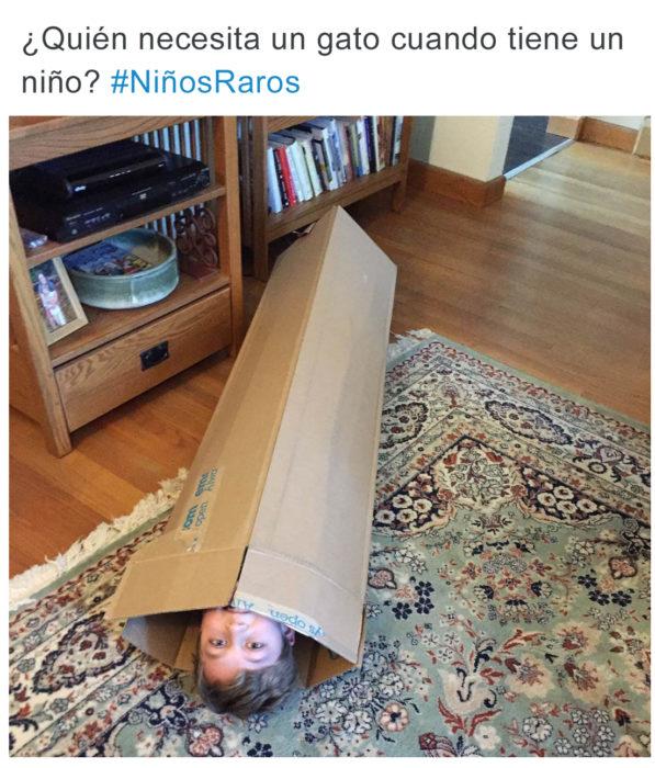 Tuits niños raros - niño en caja