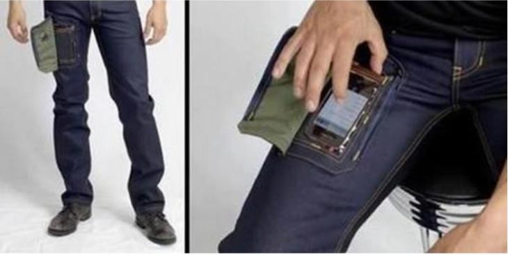 pantalón de mezclilla con hoyo para usar el celular