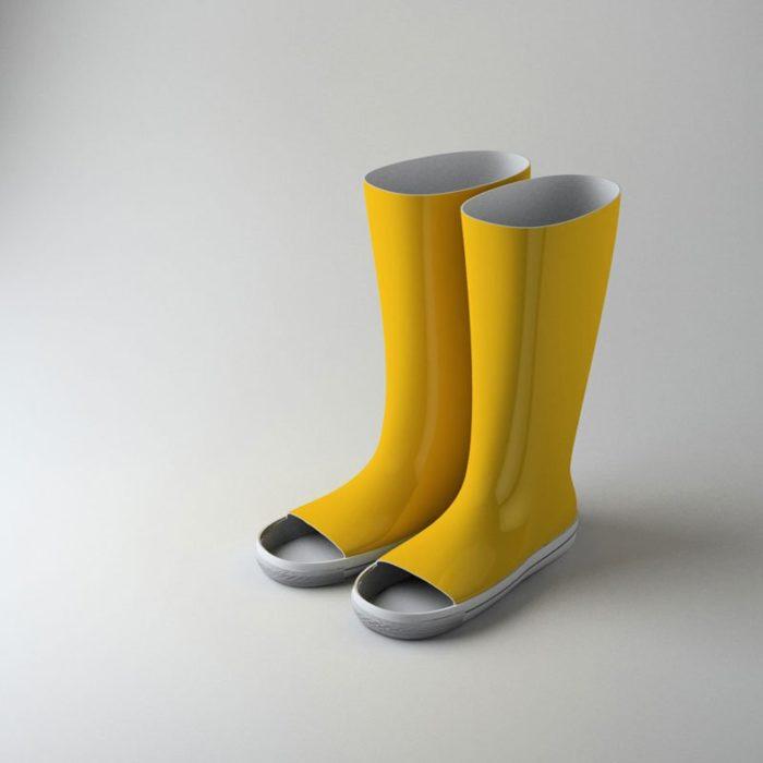 Botas para lluvia con hoyos