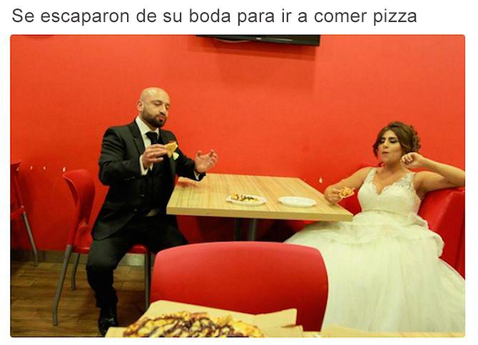 Relationship goals - se escapan de boda para comer pizza