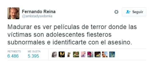 Tuits graciosos - madurar películas de terror