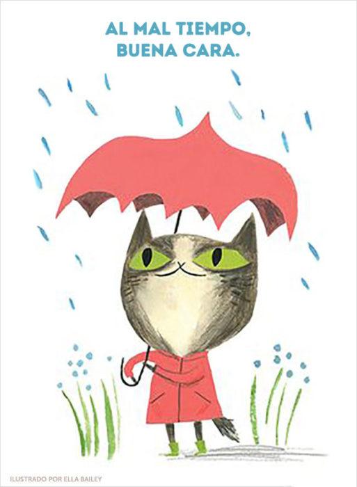 ilustración dichos gato lluvia