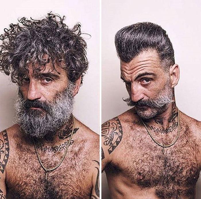 hombre Cambio de look corte extremo viejo